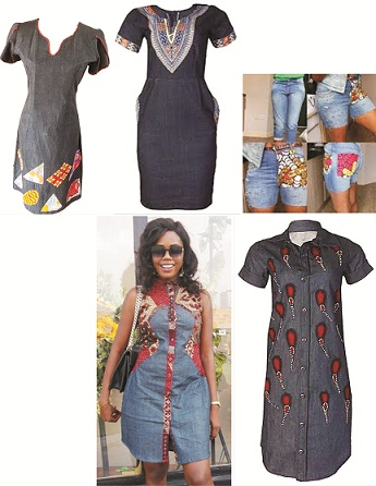 Jeans with Ankara patches