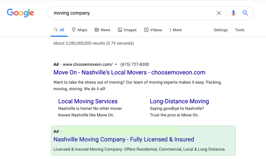 Here are some search ads for a moving company.