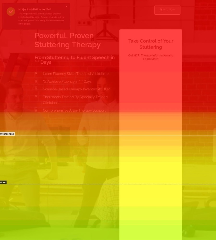 The homepage heatmap for a stuttering therapy company.
