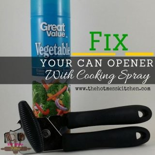 fix your can opener with cooking spray