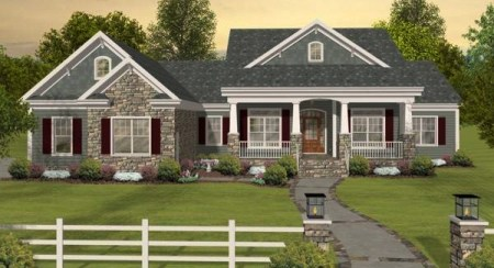Country House Plans with Porches  Low French   English Home Plan Country House Plans