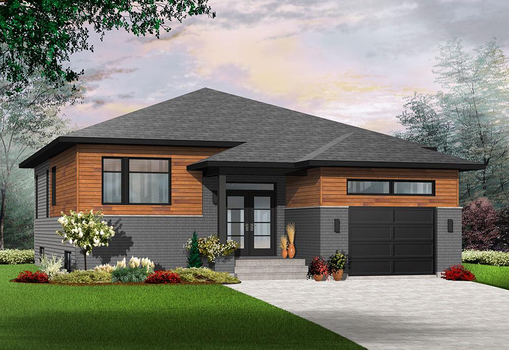 Urbania, a Modern One-Story House Plan with a Basement Option