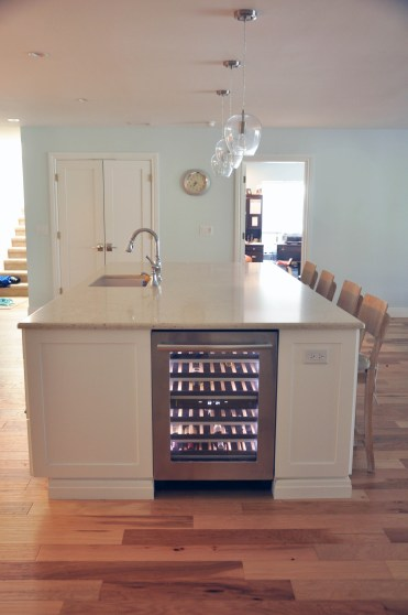 Kitchen Island, view of wine fridge