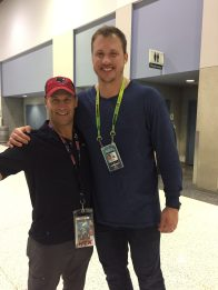 "Nate Solder and my husband. Look how small he looks compared to him. He is 6'8"", my husband is 5'11"""