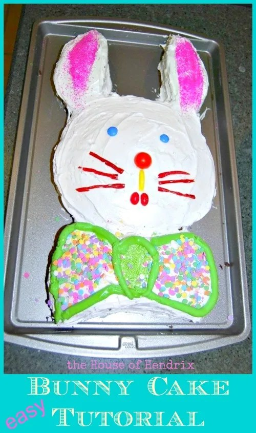 Easy Easter Bunny cake Tutorial - Just two simple cuts and you are ready to decorate. The House of Hendrix