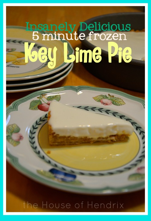 Absolutely crazy for this Key Lime Pie! It's only 4 ingredients and takes just minutes to prepare. Because it's kept in the freezer, it is incredibly refreshing and simply perfect! |the House of Hendrix