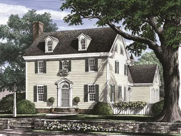 Colonial House Plans   The House Plan Shop Colonial House Plan  063H 0092
