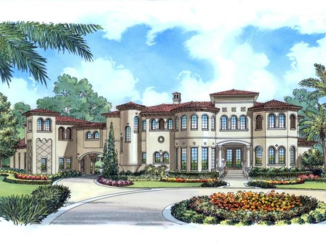 Mediterranean House Plans   Luxurious Two Story Mediterranean Home     Mediterranean House  043H 0259