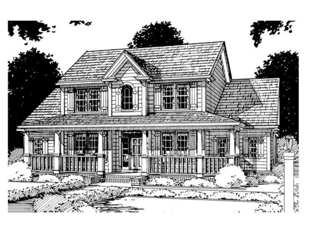 Farmhouse Plans   Two Story Farmhouse Plan with Wrap Around Porch     Country House Plan  059H 0039