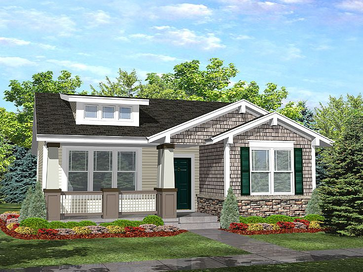Craftsman House Plans   The House Plan Shop Bungalow House Plan  016H 0007