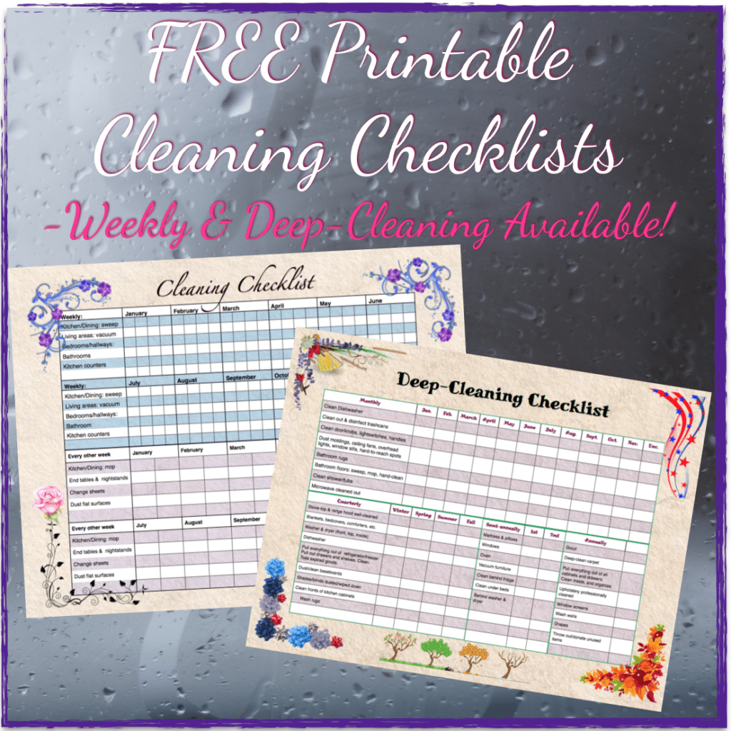 Free Printable Cleaning Checklists Weekly And Deep