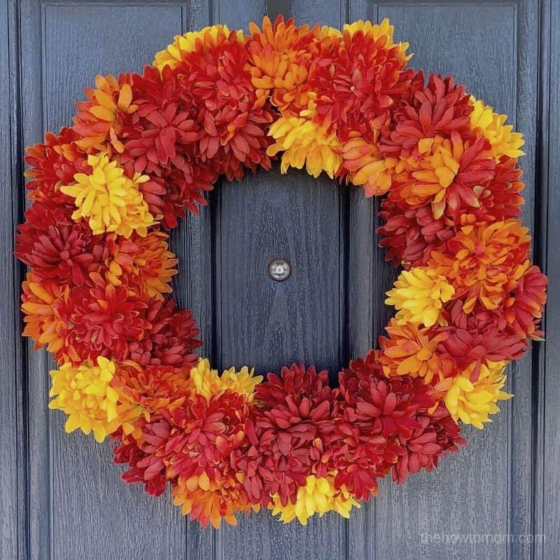 red, orange and yellow easy fall mum wreath