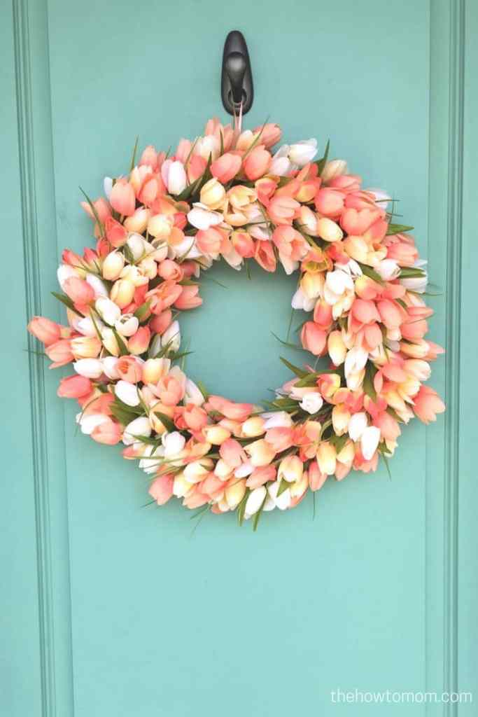 Peach tulip wreath DIY - on gorgeous teal door!