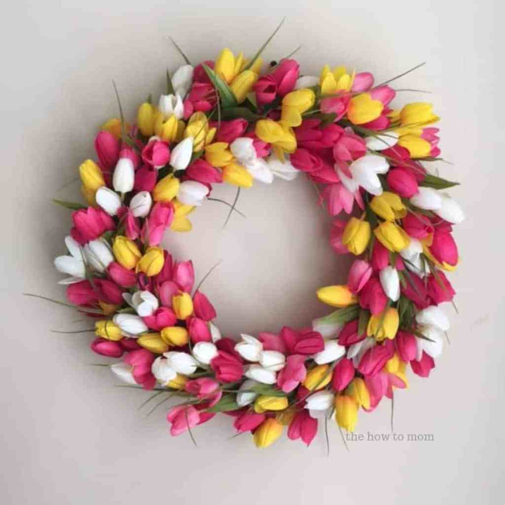 Pink and yellow tulip wreath DIY