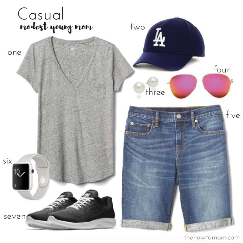Real mom style - Casual young mom bermuda shorts outfit