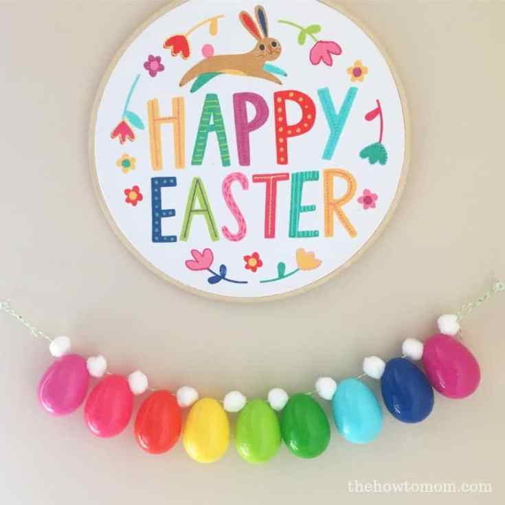 Bright and Colorful Plastic Easter Egg Garland