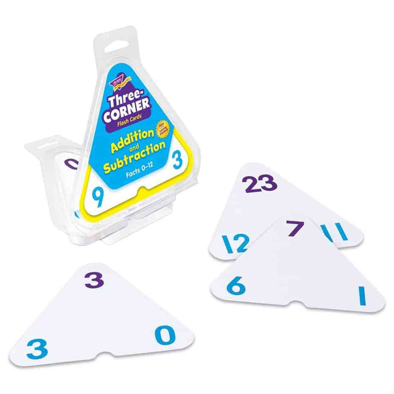 Three Corner Flash Cards - fun ways to practice math skills