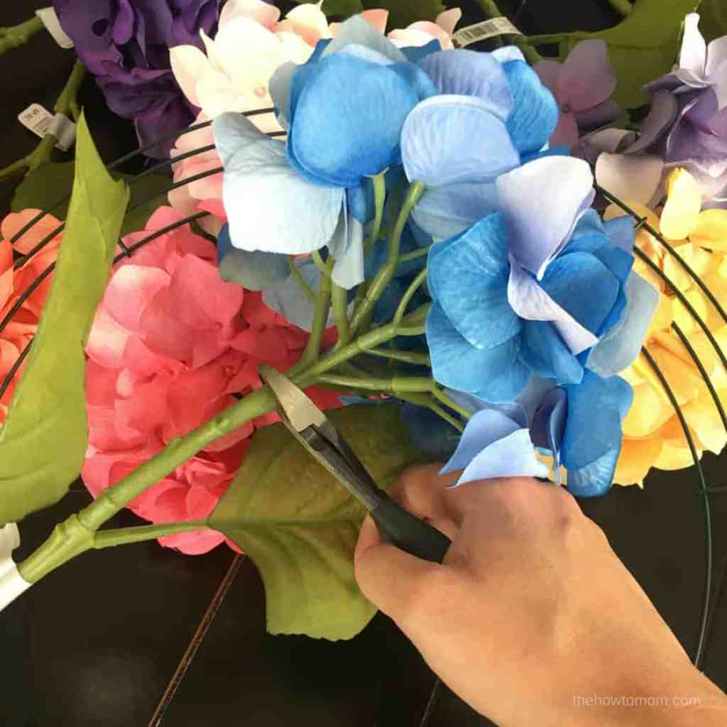 Rainbow Hydrangea Wreath DIY