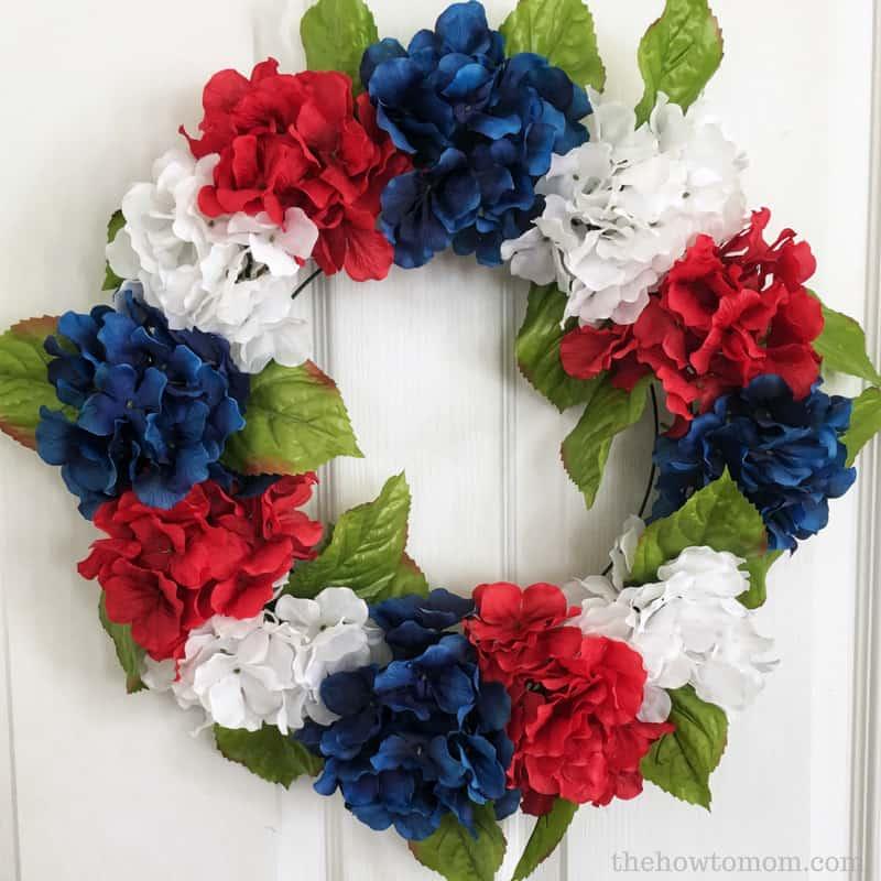 Easy 4th of July DIY - Patriotic Hydrangea Wreath