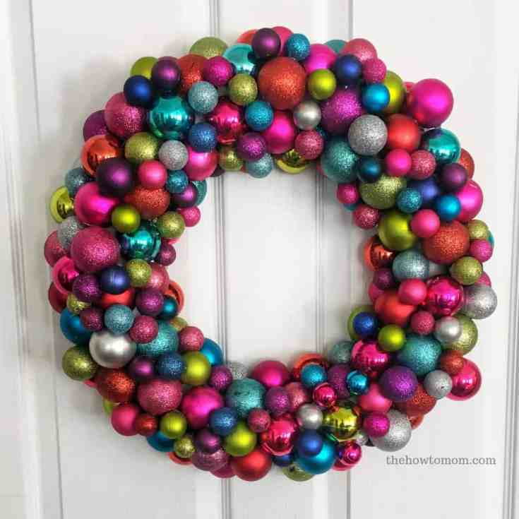 DIY Colorful Ornament Wreath