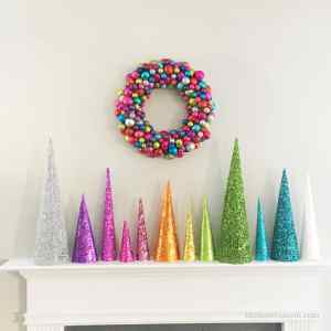 Glittery Christmas Tree Cones DIY