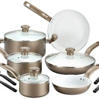 T-fal 2100088763 14 Piece Ceramic Dishwasher Safe Nonstick PTFE PFOA & Cadmium Free Cookware Set, Gold