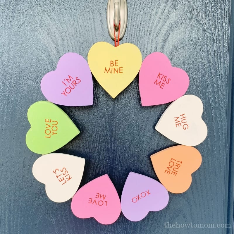 Candy Conversation Heart Wreath DIY