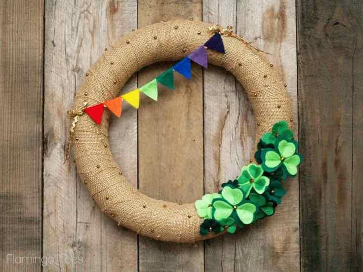 Burlap and Felt St Patricks Day Wreath