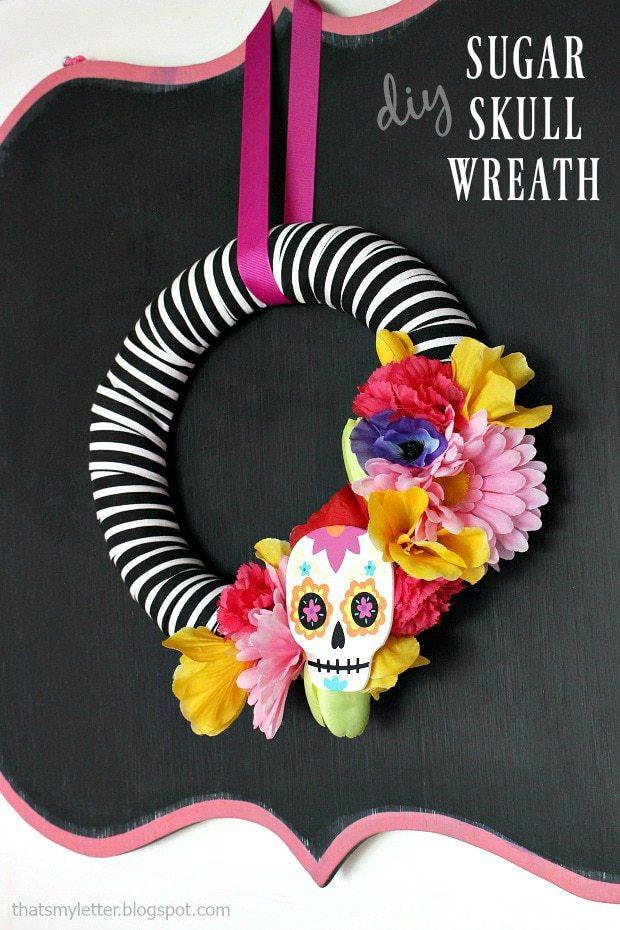 Modern Sugar Skull Wreath