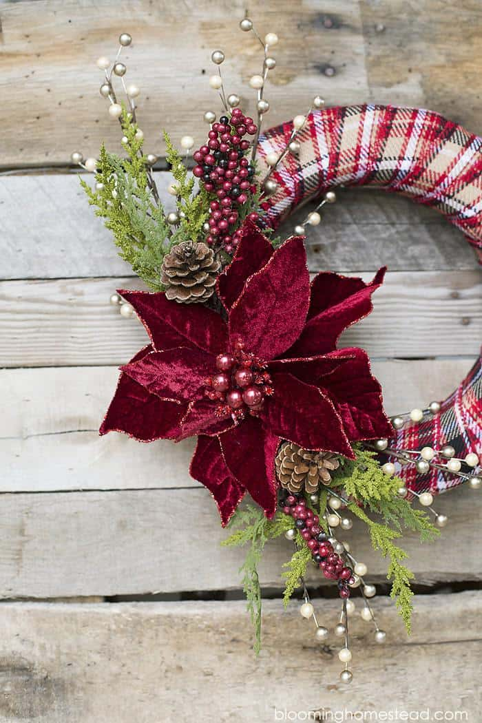 Plaid and Poinsettia Christmas Wreath