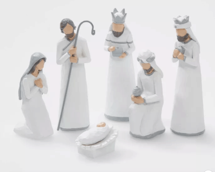 White and silver nativity set - 7 pc