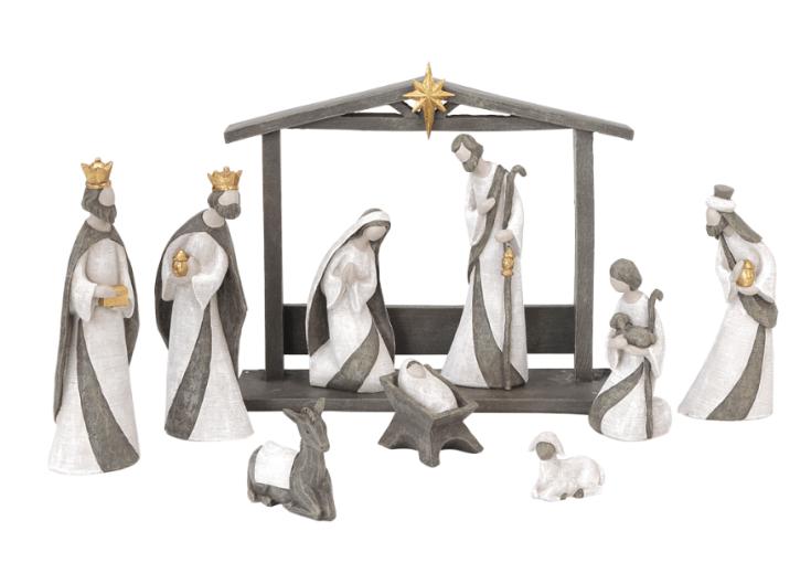 Elegant white w/grey Nativity - 10 pc