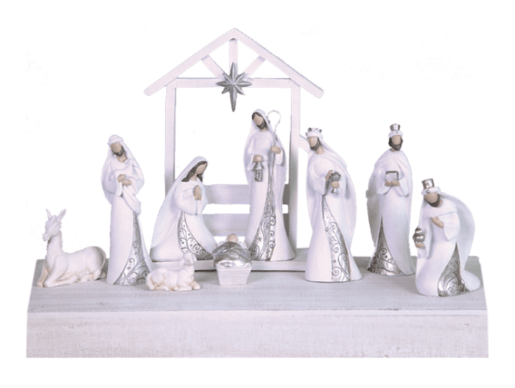 White and silver Nativity set - 10 pc