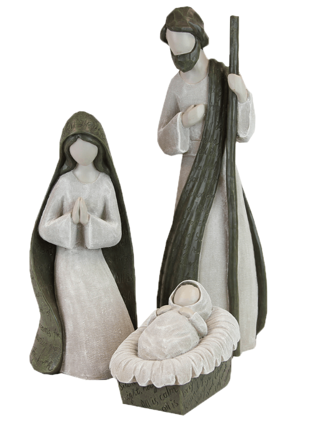 White and grey holy family - 3 pc
