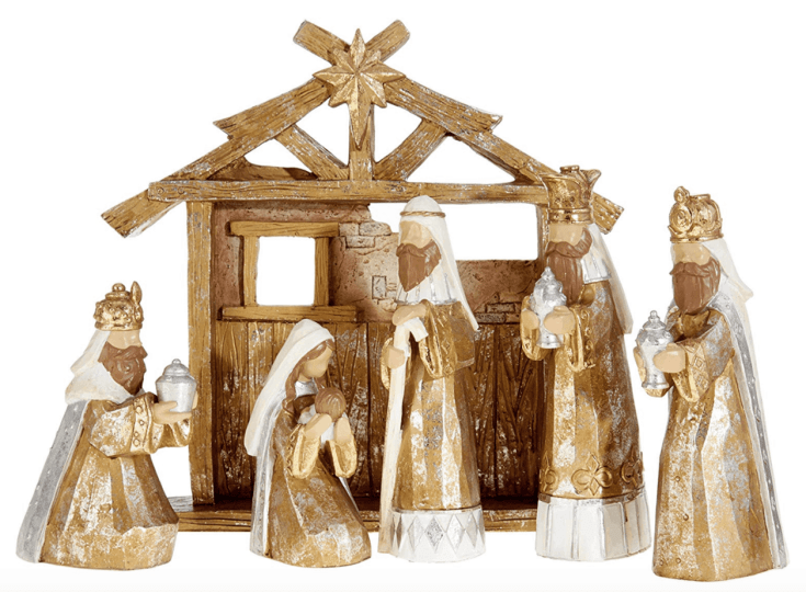 Gold toned Nativity set - 6 pc