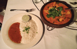 Although their food may be a little bland, The Grill from Ipanema features Brazilian cuisine like moqueca a Baiana, a fish stew.