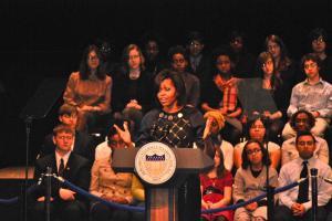 MASHA GONCHAROVA/THE HOYA Michelle Obama encourages students to study abroad.