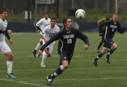 FILE PHOTO: CHRIS BIEN/THE HOYA Sophomore midfielder Steve Neumann leads the Big East in assists and is second in goals.