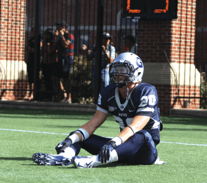CHRIS GRIVAS/THE HOYA Sophomore Kevin Macari lingered on the field after Georgetown's final play was intercepted.