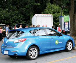 REBECCA GOLDBERG FOR THE HOYA Georgetown received its inaugural fleet of five Zipcars this semester. The car-sharing service is currently only open to Georgetown students over 21, but negotiations are underway to allow 18- to 20-year-olds to use it.