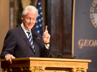 """LEONEL DE VELEZ/THE HOYA President Bill Clinton (SFS '68) is set to return to Gaston Hall for the fourth installment of his """"Clinton Lectures"""" series."""