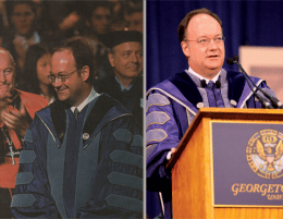 CHARLES NAILEN & CHRIS BIEN/THE HOYA President John J. DeGioia (CAS '79) being clapped in at his inauguration (left) in 2001 and welcoming the new freshman class at convocation 10 years later.