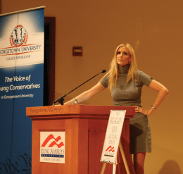 ELEANOR DURAND FOR THE HOYA Conservative commentator Ann Coulter received mixed reactions to her speech in Lohrfink Auditorium Thursday night.