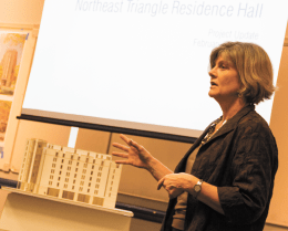 NATASHA THOMSON/THE HOYA Senior University Architect Jodi Ernst introduced revised designs to the Northeast Triangle Residence Hall in an open forum Wednesday.