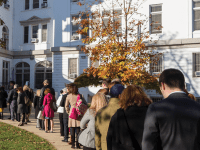 ALEXANDER BROWN/THE HOYA Students lined up to vote in Nov. 2012 — an unlikely scene April 1.