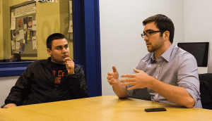 ALEXANDER BROWN/THE HOYA  Former GUSA President Nate Tisa (SFS '15), right, and Vice President Adam Ramadan (SFS '15) reflect on their year in office, which focused on changing student culture and fostering engagement.