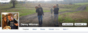 A screenshot of Daniel Milzman's Facebook page before it was deleted.