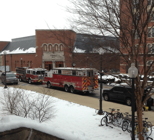 DANIEL SMITH/THE HOYA Emergency personnel surround Southwest Quad, where a substance that tested positive for ricin was found early Tuesday morning.
