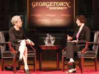 File Photo: LEONEL DE VELEZ Sandra Fluke (LAW '12) spoke with professor Judy Feder in a lecture hosted in Gaston Hall in April 2012.