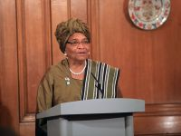 FOREIGN AND COMMONWEALTH OFFICE Sirleaf addresses the media in London in Nov. 2012.